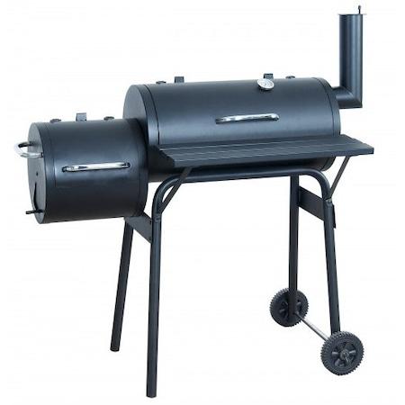 Gratar carbune BBQ smoker 2 in1, Wichita Smoker, grill si afumatoare, termometru, dimensiuni totale 116.5 X115 cm, metal, negru : Review detaliat